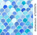 Watercolor Blue Fish Scales...