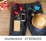 set woman travel planning for... | Shutterstock . vector #671056252