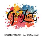 hand sketched good luck... | Shutterstock .eps vector #671057362