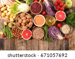 selection of healthy food | Shutterstock . vector #671057692
