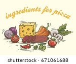 foodstuffs. ingredients for... | Shutterstock .eps vector #671061688