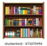 library wooden book shelf....   Shutterstock . vector #671070496