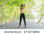 sport woman warming and... | Shutterstock . vector #671073856