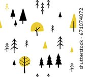 scandinavian geometric seamless ... | Shutterstock .eps vector #671074072