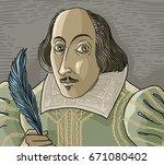 great english writer | Shutterstock .eps vector #671080402