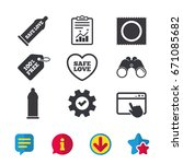 safe sex love icons. condom in...