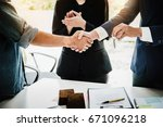 real estate agents agree to buy ... | Shutterstock . vector #671096218