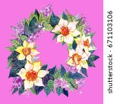 wreaths with flowers | Shutterstock . vector #671103106