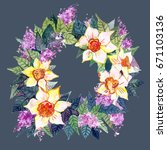 wreaths with flowers   Shutterstock . vector #671103136