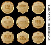 set of golden badges | Shutterstock .eps vector #671104846