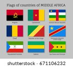 middle africa countries flag... | Shutterstock .eps vector #671106232