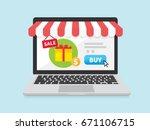 online store concept on laptop... | Shutterstock .eps vector #671106715