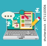 computer with blogging activity.... | Shutterstock .eps vector #671110306