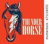 horse logo template mascot... | Shutterstock .eps vector #671118352