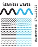 collection of different wave on ... | Shutterstock .eps vector #671119126