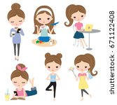 vector illustration of woman or ... | Shutterstock .eps vector #671122408