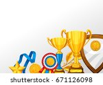 realistic gold cup and other... | Shutterstock .eps vector #671126098