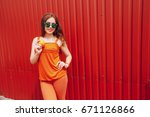 girl photographed with fruit... | Shutterstock . vector #671126866