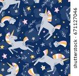 unicorn magic seamless vector... | Shutterstock .eps vector #671127046