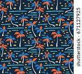 seamless beach vector pattern... | Shutterstock .eps vector #671127925
