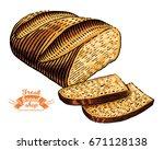 hand drawn bread bakery in... | Shutterstock .eps vector #671128138