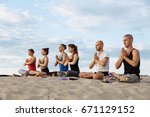 mixed race group of people... | Shutterstock . vector #671129152