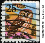 Small photo of UNITED STATES OF AMERICA - CIRCA 1988: A stamp printed in the USA shows Northern Saw-whet Owl - Aegolius acadicus, circa 1988