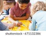 young children having fun... | Shutterstock . vector #671132386