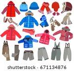 collection of winter children's ...   Shutterstock .eps vector #671134876