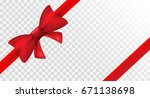 red ribbon with red bow. vector ... | Shutterstock .eps vector #671138698