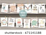 cute cards for banners flyers...   Shutterstock .eps vector #671141188