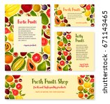 fresh fruits banners and... | Shutterstock .eps vector #671143465