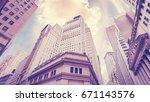 vintage stylized wall street in ...   Shutterstock . vector #671143576