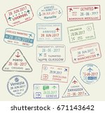 passport travel stamps set with ... | Shutterstock .eps vector #671143642