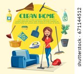 home cleaning poster with clean ... | Shutterstock .eps vector #671144512