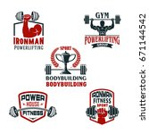 gym or bodybuilding and... | Shutterstock .eps vector #671144542