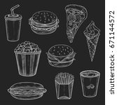 fast food chalk sketch icons on ...   Shutterstock .eps vector #671144572