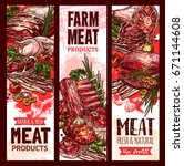 farm fresh raw meat banners set ... | Shutterstock .eps vector #671144608