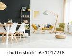 black wall in modern dining... | Shutterstock . vector #671147218