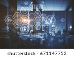digital medical screen in... | Shutterstock . vector #671147752