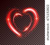 shiny heart shaped frame on... | Shutterstock .eps vector #671152822