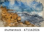 watercolour painting of... | Shutterstock . vector #671162026