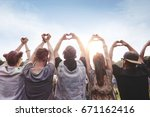 group of people showing the... | Shutterstock . vector #671162416