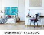 multifunctional bedroom space... | Shutterstock . vector #671162692