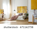 spacious warm bedroom with... | Shutterstock . vector #671162758