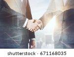 handshake on abstract city... | Shutterstock . vector #671168035