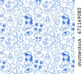 old school seamless pattern... | Shutterstock .eps vector #671169085