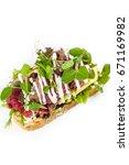 open beef mayonnaise  sandwich... | Shutterstock . vector #671169982