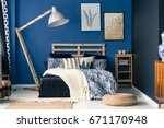stylish bedroom interior with... | Shutterstock . vector #671170948