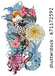 tattoo for arm and body paint.... | Shutterstock .eps vector #671172592